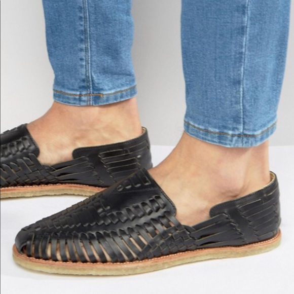 c5c53362fa5af TOMS leather huarache black flat sandal